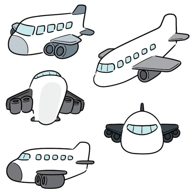 Vektorsatz des flugzeuges Premium Vektoren