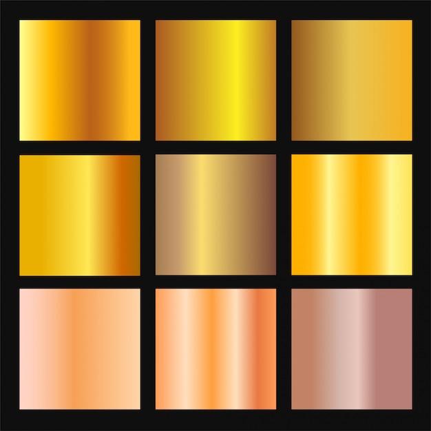 Vektorsatz des gold- und bronzegradientenhintergrunds. goldene und metallische farbverlaufssammlung für rand, rahmen, band, etikettendesign. farbfeld. gradation der goldfolientextur. Premium Vektoren