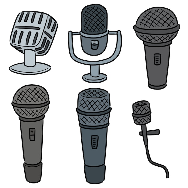 Vektorsatz des mikrofons Premium Vektoren