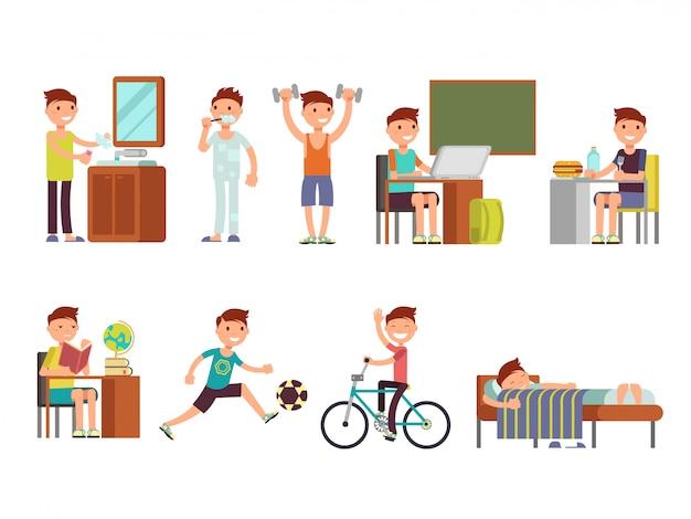 Vektorsatz des täglichen tages des kinderjungen Premium Vektoren