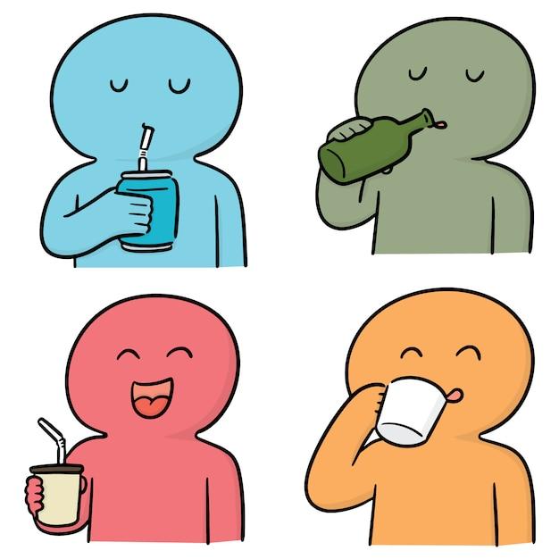 Vektorsatz des trinkenden mannes Premium Vektoren