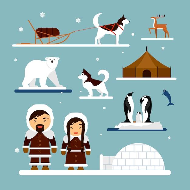 Vektorsatz eskimocharaktere mit igluhaus, hund, weißem bären und pinguinen. Premium Vektoren