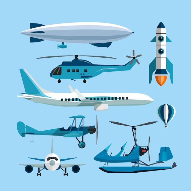 Vektorsatz fliegende transportgegenstände. heißluftballon, rakete, hubschrauber, flugzeug und retro doppeldecker Premium Vektoren