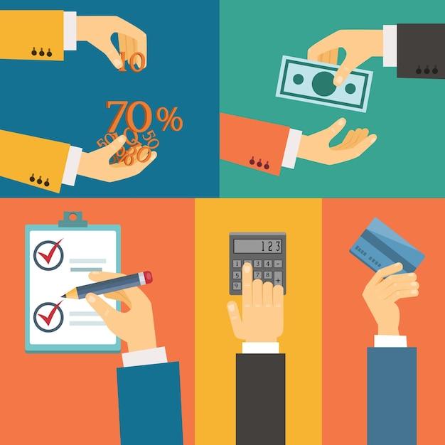 Vektorsatz hände, kaufzahlungsguthaben flache retroillustration Kostenlosen Vektoren
