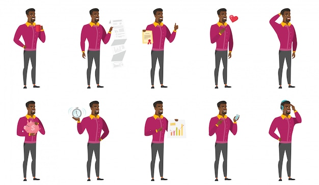 Vektorsatz illustrationen mit geschäftsleuten. Premium Vektoren