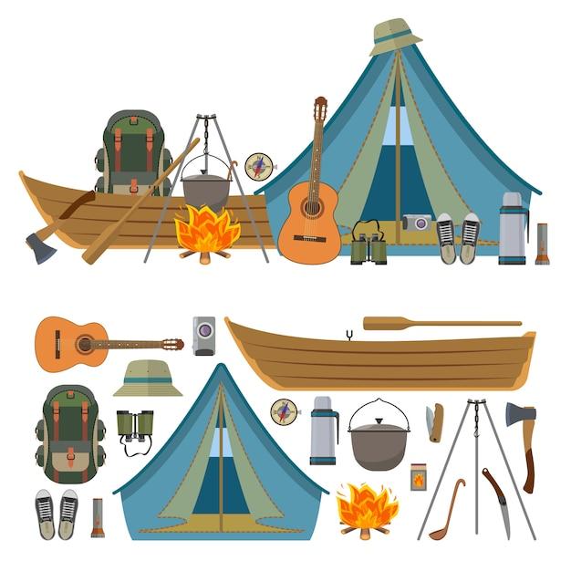Vektorsatz kampierende gegenstände und werkzeuge lokalisiert. campausrüstung, touristenzelt, boot, rucksack, feuer, gitarre. Premium Vektoren