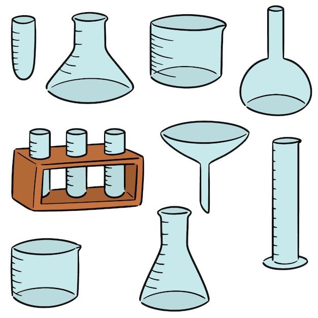 Vektorsatz laborglaswaren Premium Vektoren
