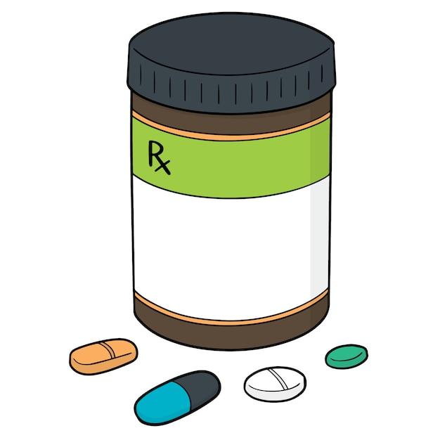 Vektorsatz medizin und medizinflasche Premium Vektoren