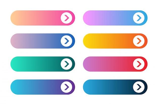Vektorsatz moderne steigungs-app oder spielknöpfe. benutzerschnittstellenweb-taste mit pfeilen. Premium Vektoren
