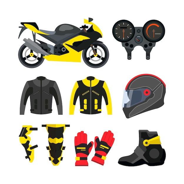 Vektorsatz motorradzubehör. sportfahrrad, helm, handschuhe, stiefel, jacke. Premium Vektoren