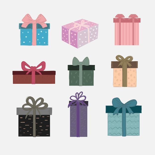 Vektorsatz nette geschenkboxen Premium Vektoren