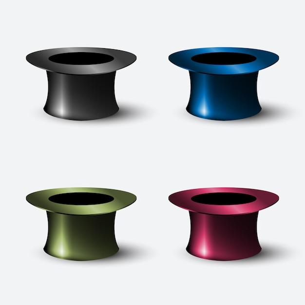 Vektorsatz realistischer hutzylinder der elemente Premium Vektoren