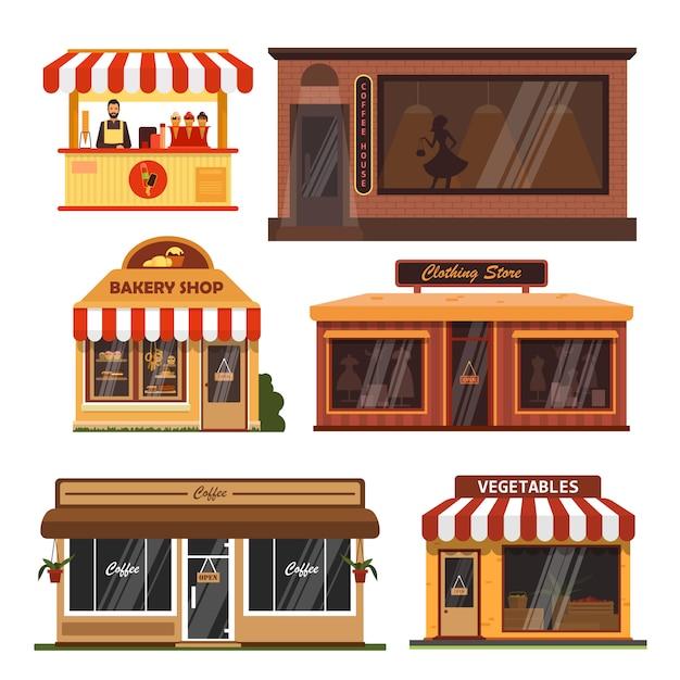 Vektorsatz schaufenstergebäude. café, bäckerei, lebensmittelgeschäft Premium Vektoren