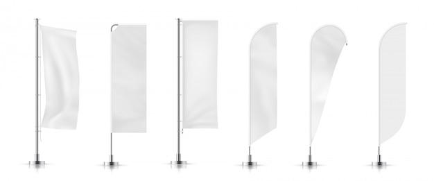 Vektorsatz verschiedene arten weiße wehende anzeigenfahnenflagge. vektor-mock-up. Premium Vektoren