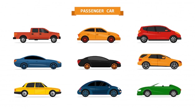 Vektorsatz verschiedene autos lokalisiert. design-elemente. limousine, abholung, geländewagen, sportwagen Premium Vektoren