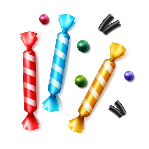 Vektorsatz verschiedener verstreuter bonbons in gestreifter bunter gelber, blauer, roter folienverpackungs-draufsicht lokalisiert auf weißem hintergrund Kostenlosen Vektoren