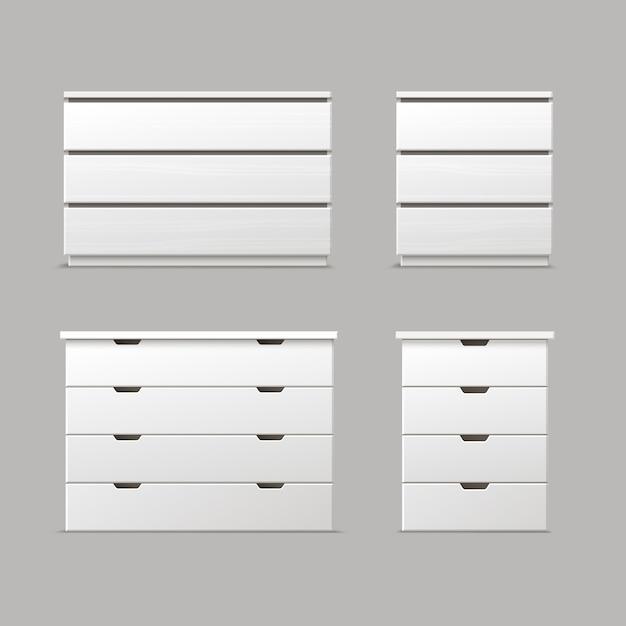 Vektorsatz verschiedener weißer schubladen, nachttische oder nachttischvoransicht lokalisiert auf hintergrund Kostenlosen Vektoren
