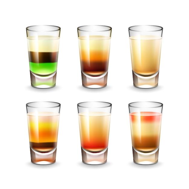 Vektorsatz verschiedenfarbiger gestreifter alkoholischer schüsse lokalisiert auf weißem hintergrund Kostenlosen Vektoren
