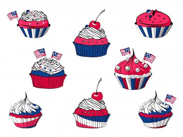 Vektorsatz von 4. juli-karikaturkleinen kuchen, amerikanische bonbons Premium Vektoren