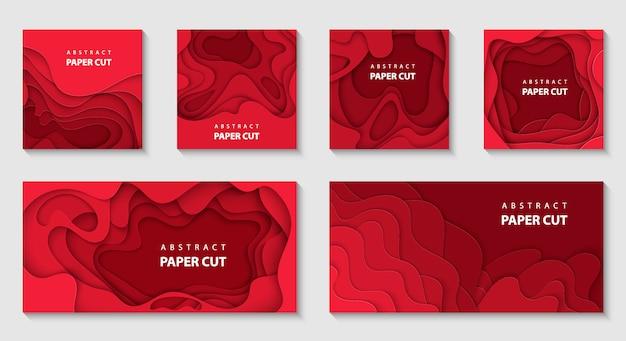 Vektorsatz von 6 roten hintergründen mit papierschnitt Premium Vektoren