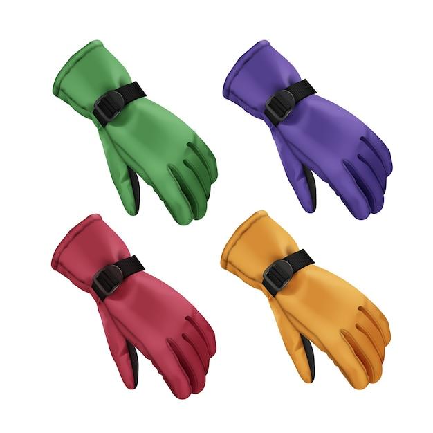 Vektorsatz von grünen, roten, blauen, gelben sportwinterhandschuhen lokalisiert auf weißem hintergrund Kostenlosen Vektoren