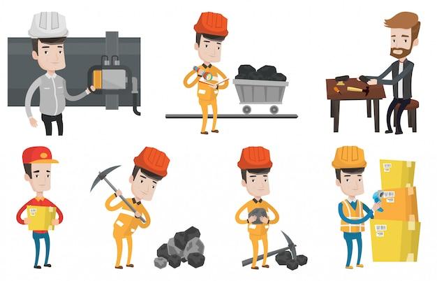 Vektorsatz von industriearbeitern. Premium Vektoren
