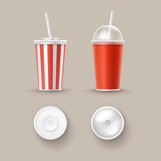 Vektorsatz von leeren großen kleinen roten weißen weißen gestreiften pappbechern für soda cola alkoholfreie getränke mit tube stroh oberseite seitenansicht isoliert auf hintergrund. fast food Kostenlosen Vektoren