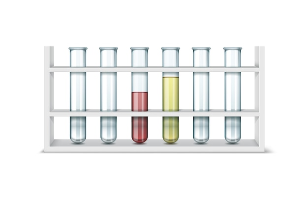 Vektorsatz von leeren transparenten glaslabors des chemischen labors mit roter, gelber flüssigkeit lokalisiert auf weißem hintergrund Kostenlosen Vektoren