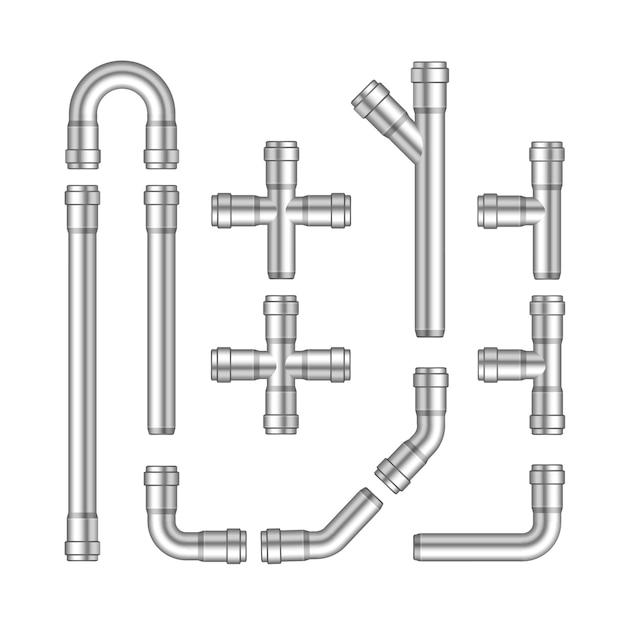 Vektorsatz von metallrohren isoliert auf weißem hintergrund Premium Vektoren