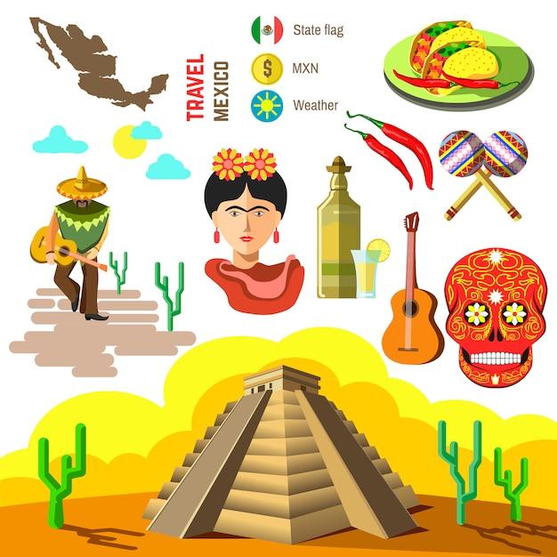 Vektorsatz von mexiko-symbolen. Premium Vektoren