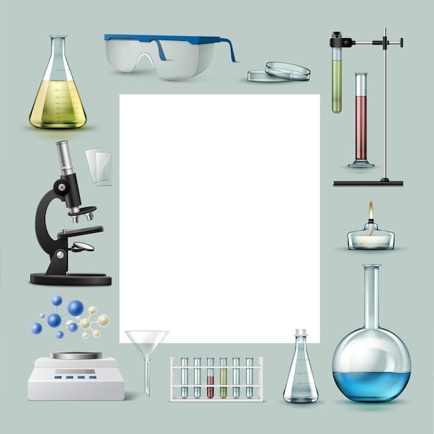 Vektorsatz von reagenzgläsern für chemische laborgeräte, kolben mit farbiger flüssigkeit, gläser, petrischale, alkoholbrenner, optisches mikroskop, trichter, waage und platz für text auf hintergrund isoliert Kostenlosen Vektoren
