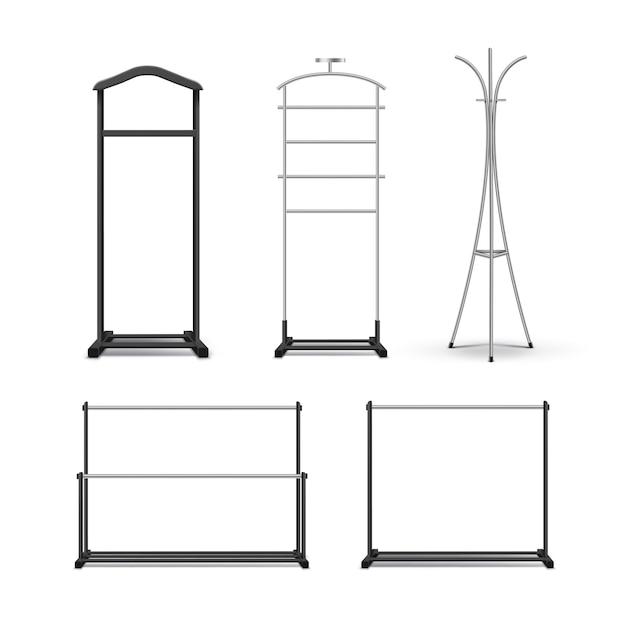 Vektorsatz von schwarzem metall, hölzernen kleiderständern und steht vorderansicht lokalisiert auf weißem hintergrund Kostenlosen Vektoren