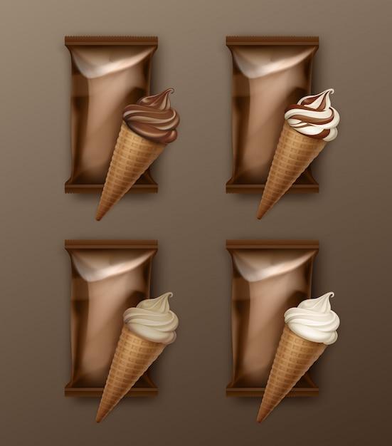 Vektorsatz von white classic und chocolate soft serve ice cream waffle cone Premium Vektoren