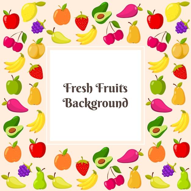 Vektorschablone mit fruchtrahmen Premium Vektoren