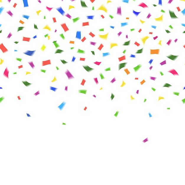 Vektorschablone von lebendigen bunten konfetti in den farben des regenbogens auf weiß mit copyspace für ihren grußkartentext oder einladung Kostenlosen Vektoren