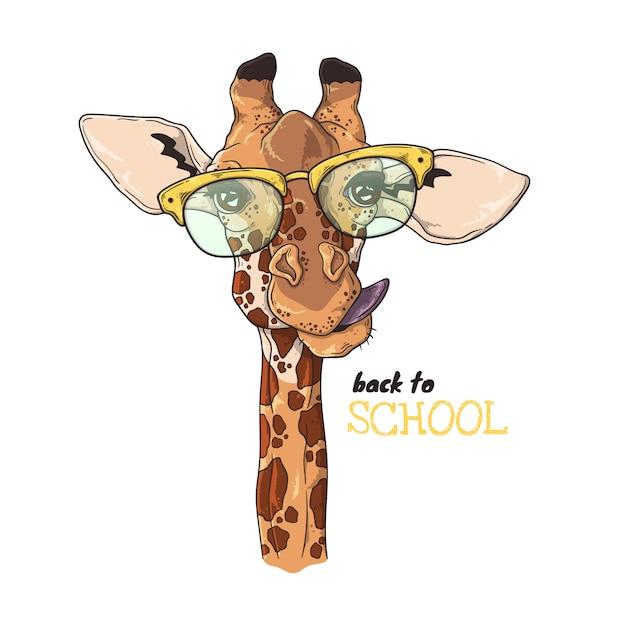 Vektorskizzenabbildungen. porträt der lustigen giraffe in den schulgläsern. Premium Vektoren
