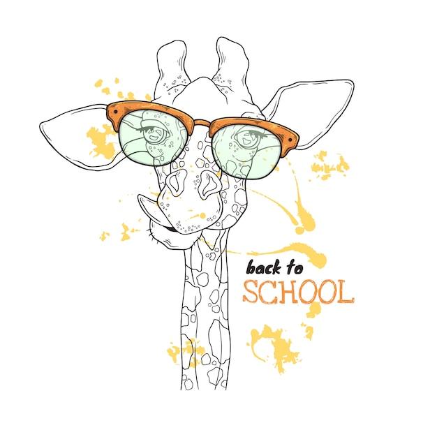 Vektorskizzenabbildungen. porträt einer lustigen giraffe in den kundenspezifischen gläsern. Premium Vektoren