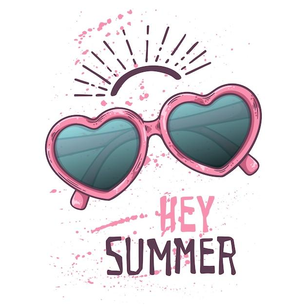 Vektorskizzensonnenbrille in der weinleseart. schriftzug: hey sommer. Premium Vektoren