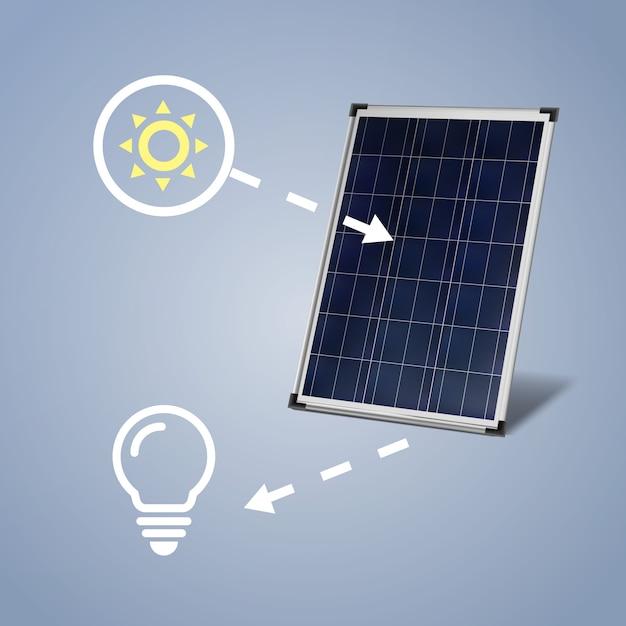 Vektorsolarpanel lokalisiert mit sonne und glühbirne auf blauem hintergrund Kostenlosen Vektoren