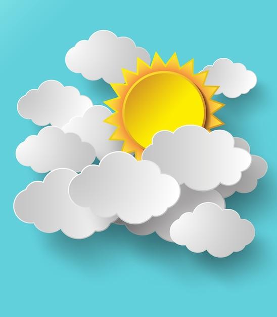 Vektorsonne mit wolkenhintergrund. Premium Vektoren