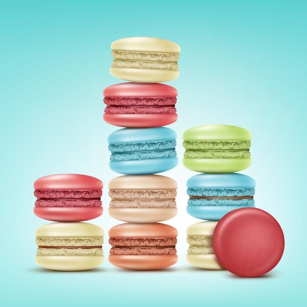 Vektorstapel der bunten rosa, grünen, beige, blauen macarons lokalisiert auf hintergrund Kostenlosen Vektoren