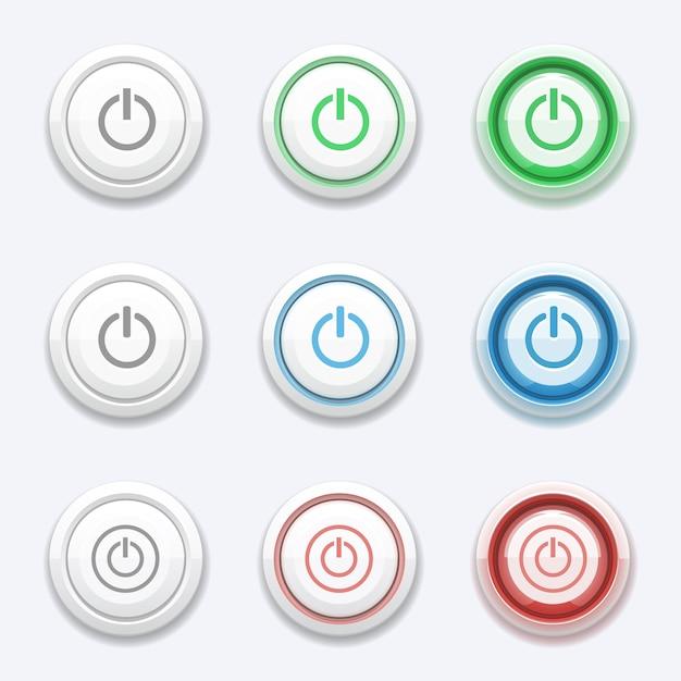 Vektorstart oder netzschalter eingestellt. aus schalter umdrehen, kreis ein, computerelement drücken, elektronische steuerung Premium Vektoren