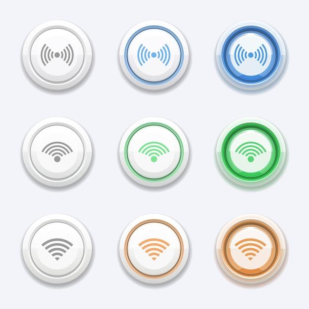 Vektortaste mit wlan- oder wlan-symbol. zonenstation, zugangssendung, kostenloser router und hotspot Premium Vektoren