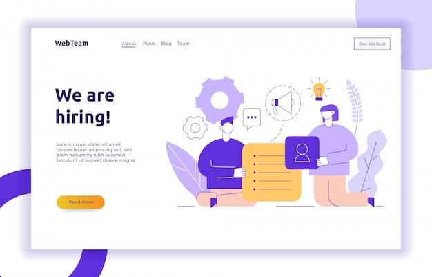 Vektorteamwork und geschäftsstrategie-webseitenfahne Premium Vektoren