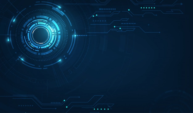 Vektortechnologiekreis und technologiehintergrund Premium Vektoren
