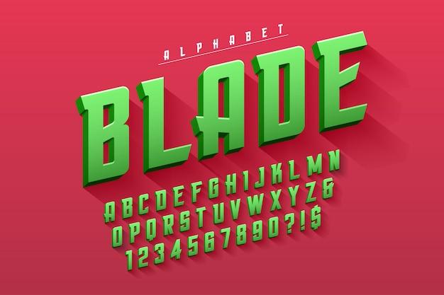 Vektorverdichtete ursprüngliche anzeigenschriftart, alphabet Premium Vektoren