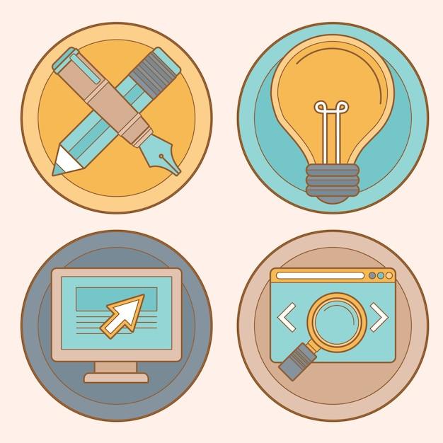 Vektorwebdesign und -entwicklung Premium Vektoren