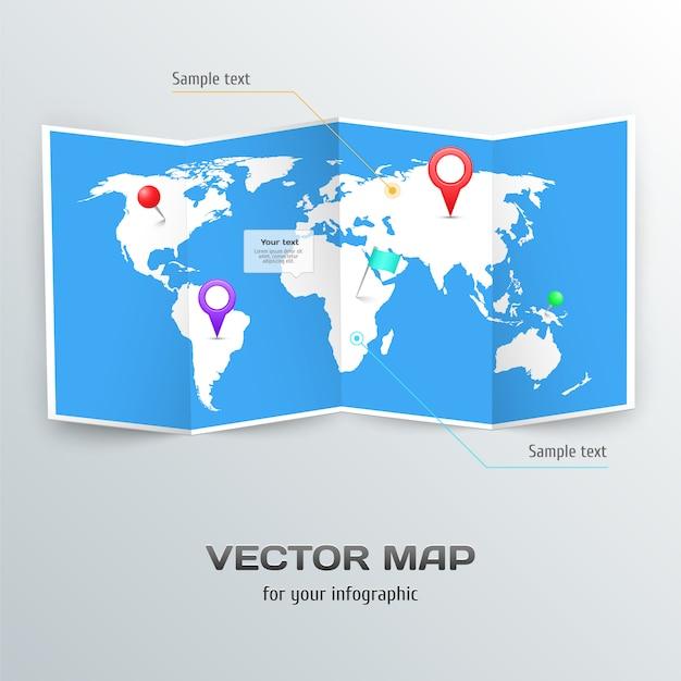Vektorweltkarte mit infographic elementen. Premium Vektoren