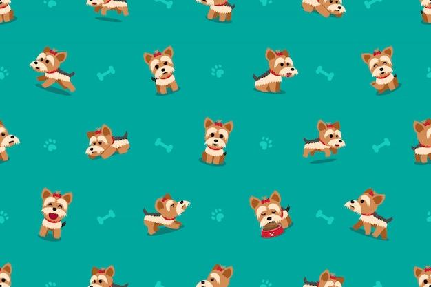Vektorzeichentrickfilm-figur yorkshire-terrierhund nahtloses muster Premium Vektoren