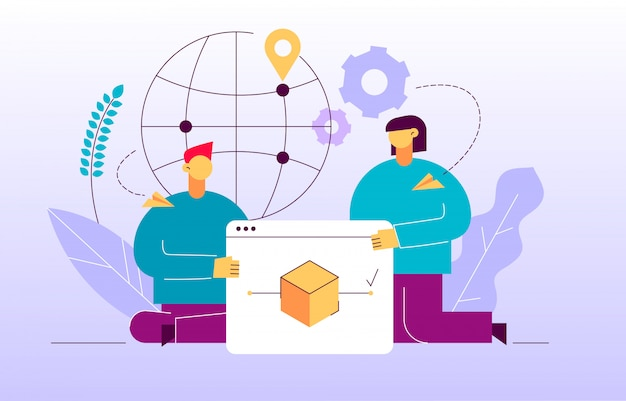 Vektorzustelldienstdesignkonzept-netzfahne Premium Vektoren